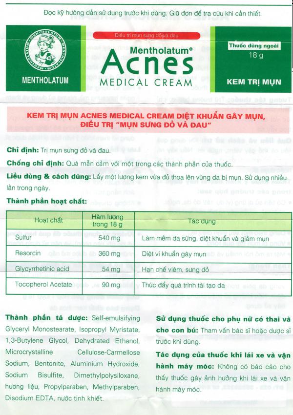 Kem trị mụn Acnes chứa các thành phần dược liệu lành tính cho da