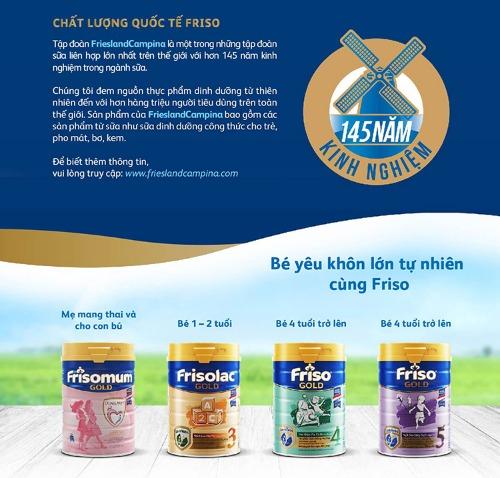 Friso - chất lượng, uy tín đã được Quốc tế công nhận