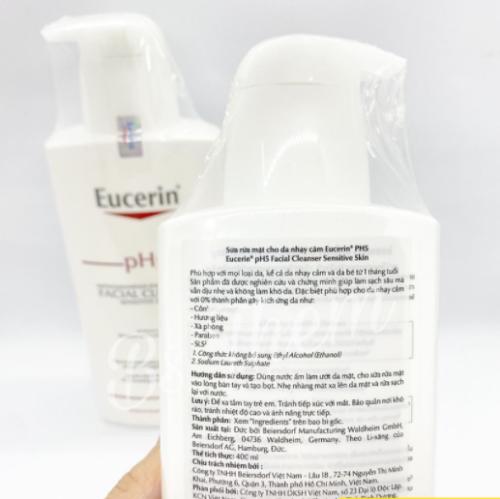 Sữa rửa mặt Eucerin PH5 với bảng thành phần lành tính